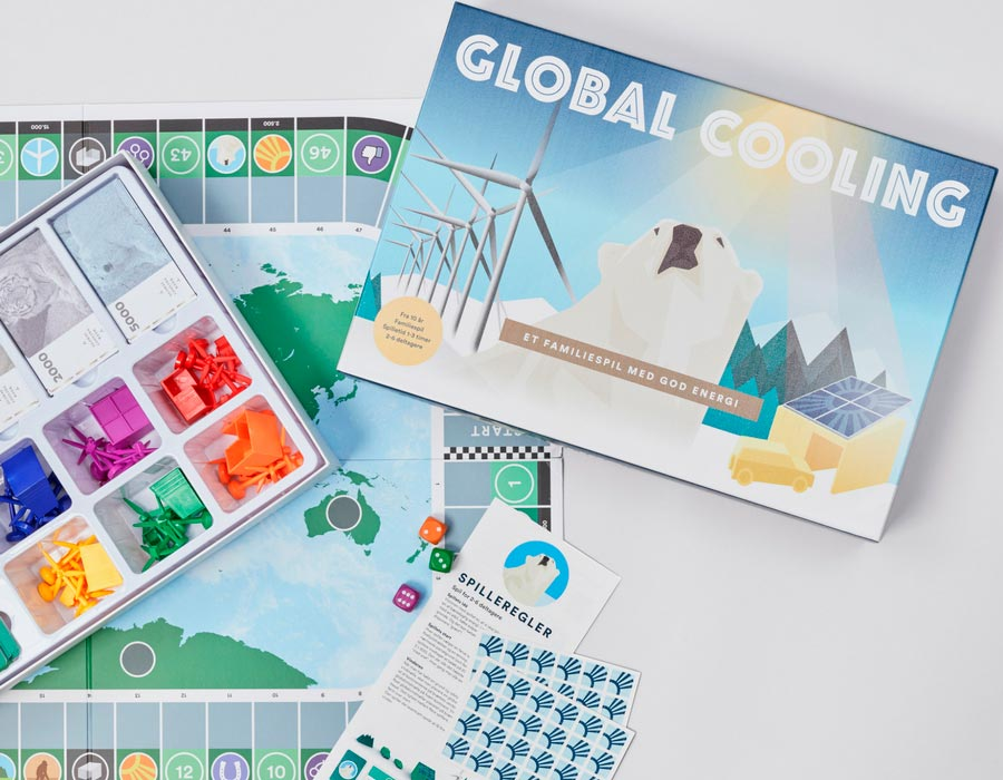 Global Cooling the board game box opened and partially set up