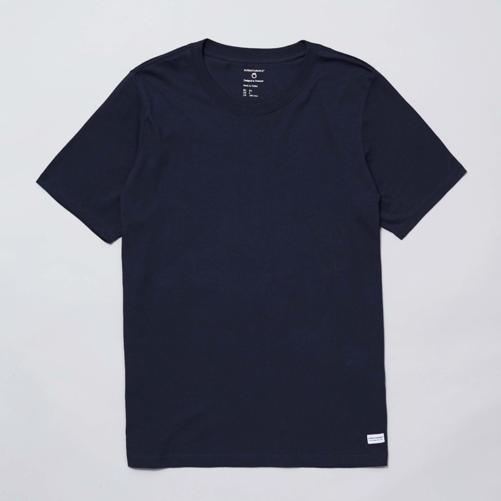 Front of the navy organic cotton Anholt T-shirt