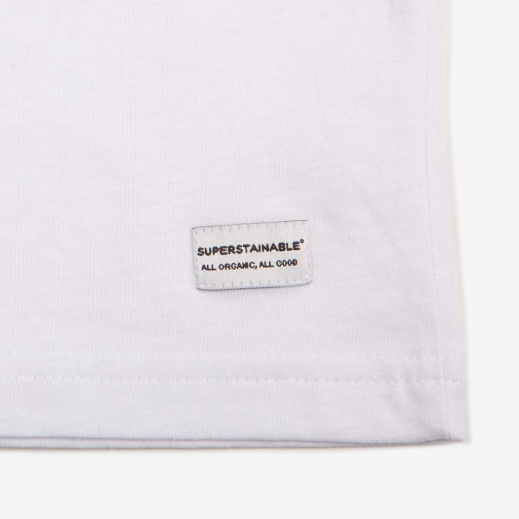 Detail shot of the white organic cotton Anholt T-shirt