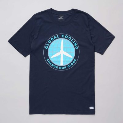 Front view of the navy organic cotton Global Cooling t-shirt