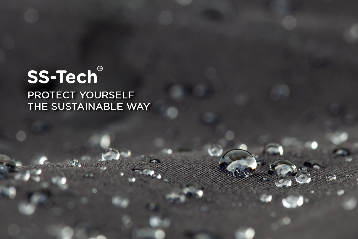 Close up of water droplets on Superstainable patented fabric technology SS Tech