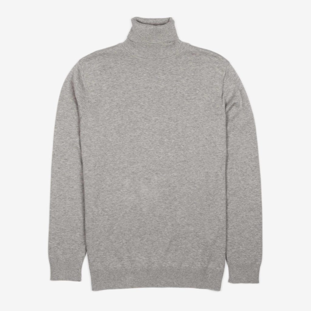 Front view of the grey melange organic cotton roll neck