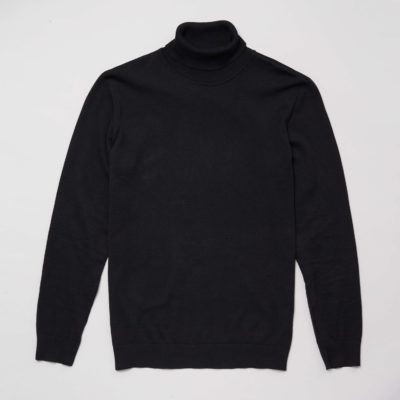 Front view of the black organic cotton roll neck