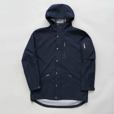 Front view of the Glombak Navy jacket with hood