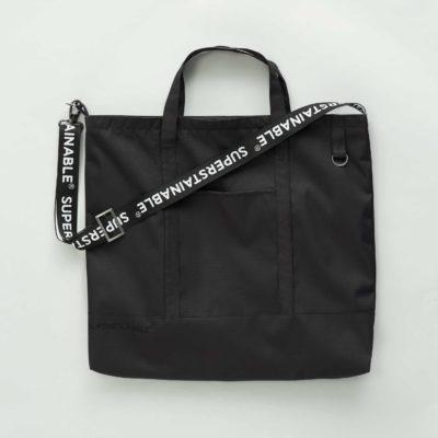 Front view of the black Gudhjem bag with strap