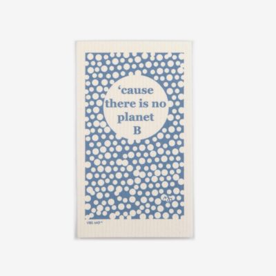 "Blue sustainable dish cloth designed by Vibs Mø with the text ""cause there is no planet B"""