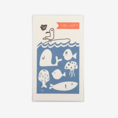 Blue sustainable dish cloth designed by Vibs Mø with a graphic print of sea life