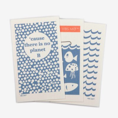 3 blue sustainable dish cloths designed by Vibs Mø with individual prints