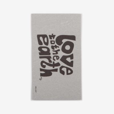"Grey sustainable dish cloth designed by Vibs Mø with the text ""love to the earth"" printed on it"