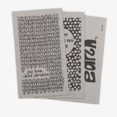 3 grey sustainable dish cloths designed by Vibs Mø with individual prints