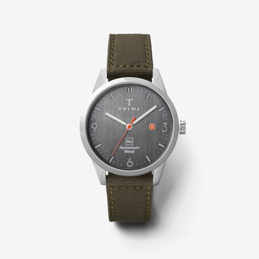 Front of the green HU39-D Triwa watch