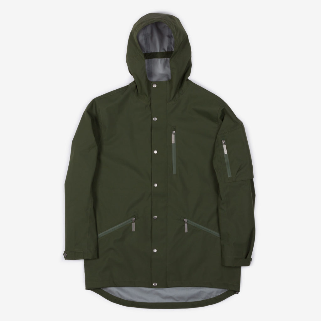 Front view of the green Glombak jacket with hood