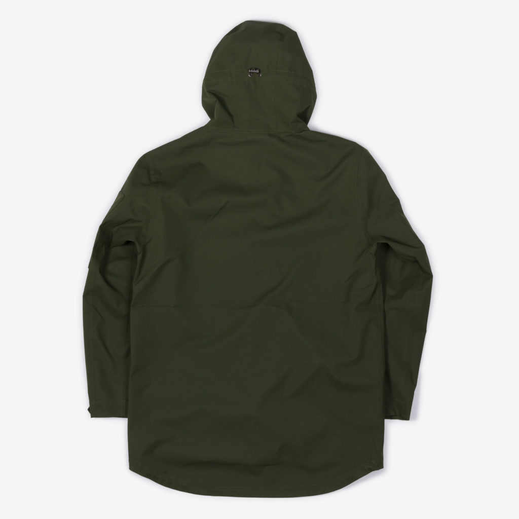 Back view of the green Glombak jacket with hood