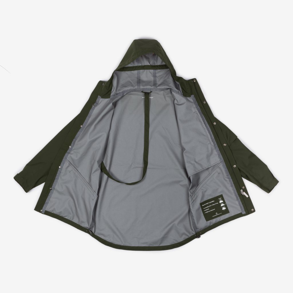Front view of the open green Glombak Jacket with hood