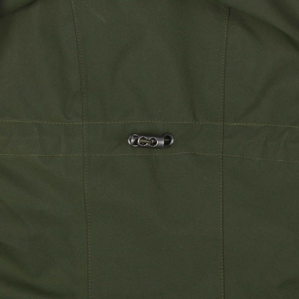Detail view of the hood of the Glombak Green jacket