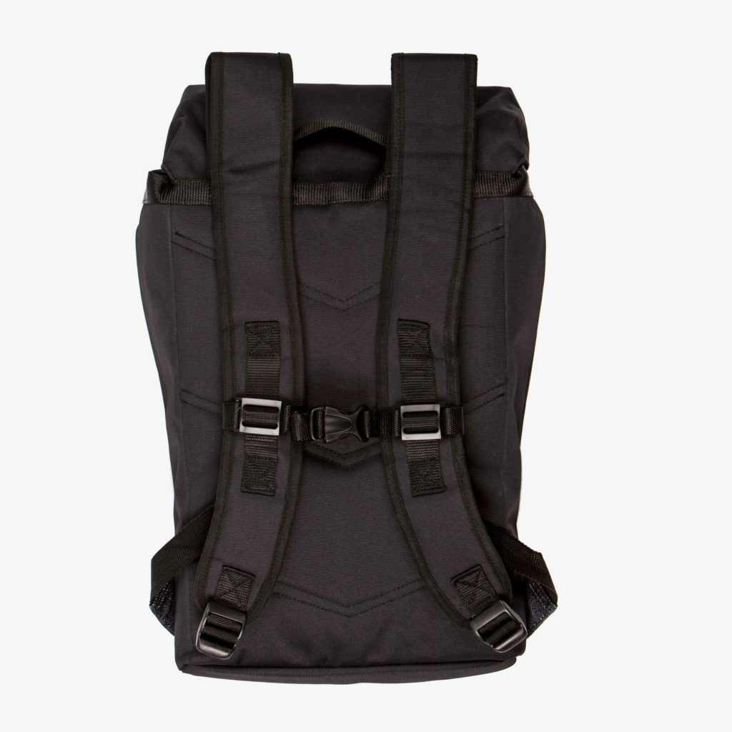 Back view of the sustainable black backpack from Superstainable