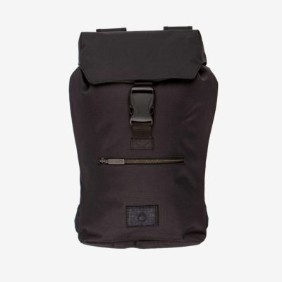 Front view of the sustainable black backpack from Superstainable